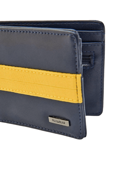 Синий кошелек с желтой полосой Pull&Bear
