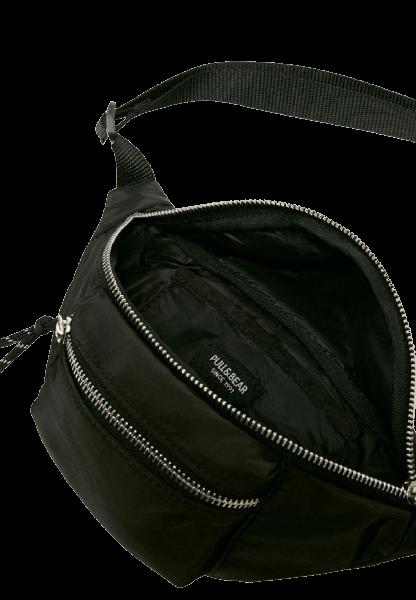 Черная поясная сумка на молнии Pull&Bear