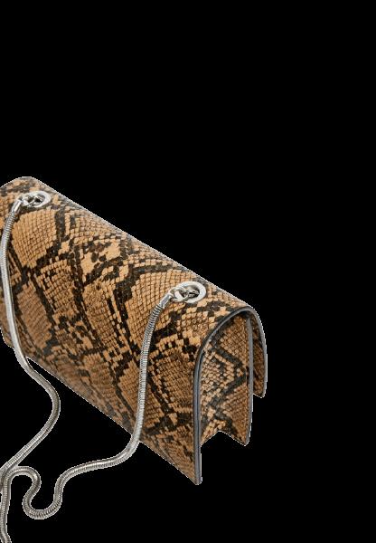 Коричневая женская сумка в стиле змеиной кожи Pull&Bear