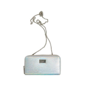 Серебристый клатч с цепочкой на плече Pull&Bear