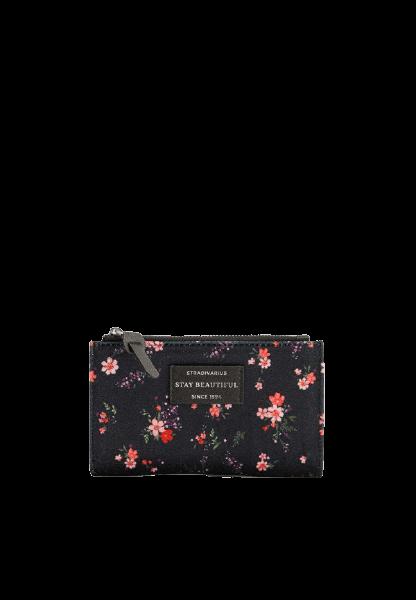 Женский черный кошелек с цветочками Stradivarius