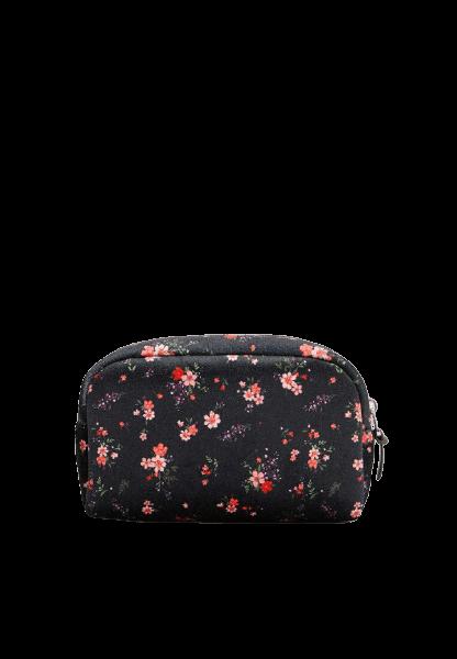 Женская косметичка черного цвета с цветочками Stradivarius