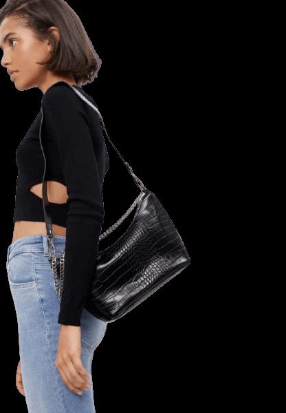 Bershka черная женская сумка на молнии