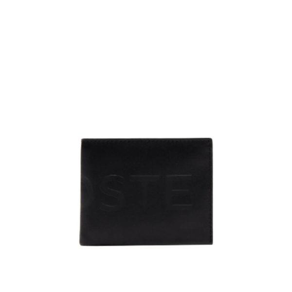 Lacoste L.12.12 CUIR ANIMATION Черный бумажник для мужчин