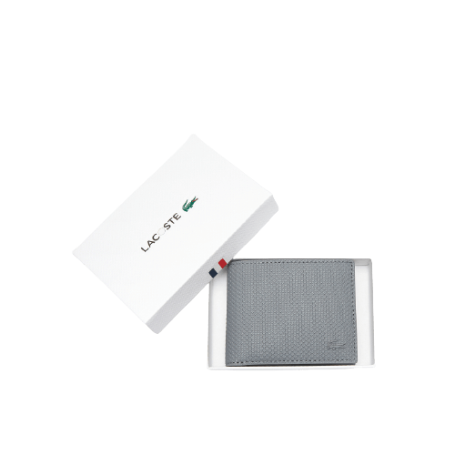 Серый кожаный бумажник Lacoste CHANTACO
